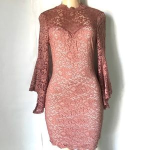 Lacey Pink Long Bell Sleeve Dress